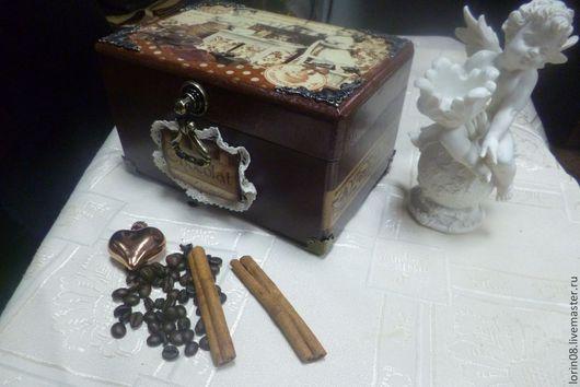 Шкатулки ручной работы. Ярмарка Мастеров - ручная работа. Купить Шкатулка для хранения сладостей. Handmade. Коричневый, дерево, кружевная тесьма