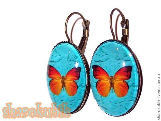 """Серьги ручной работы. Ярмарка Мастеров - ручная работа. Купить Серьги с бабочкой """"Carrot"""". Handmade. Бабочка, серьги с бабочкой, рыжий"""