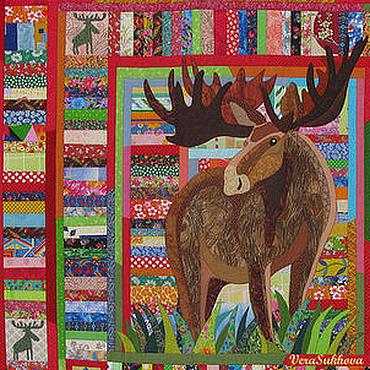 """Текстиль ручной работы. Ярмарка Мастеров - ручная работа Лоскутное одеяло-панно """"Лось"""". Handmade."""