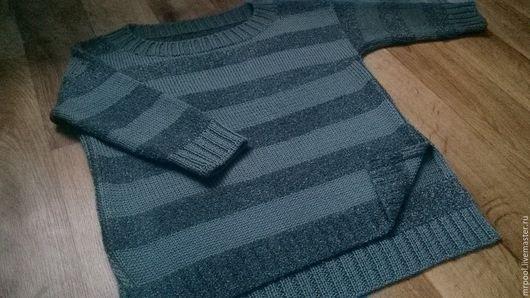 Кофты и свитера ручной работы. Ярмарка Мастеров - ручная работа. Купить Marine. Handmade. Серый, пуловер вязаный, пуловер спицами