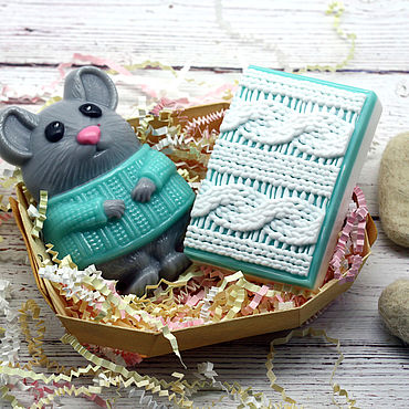 Cosmetics handmade. Livemaster - original item Set of soap Christmas Mouse in a sweater. Handmade.
