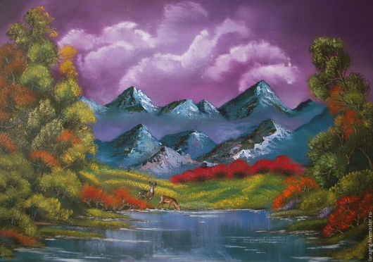 """Животные ручной работы. Ярмарка Мастеров - ручная работа. Купить """"Долина сияющих облаков""""- авторская работа Ларисы Григ. Handmade."""