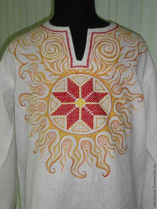 """Одежда ручной работы. Ярмарка Мастеров - ручная работа. Купить Рубаха """"Солнечный Алатырь"""". Handmade. Белый, славянские обереги, рубаха"""