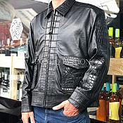 Мужская одежда handmade. Livemaster - original item Men`s jacket made of lamb leather and crocodile. Handmade.