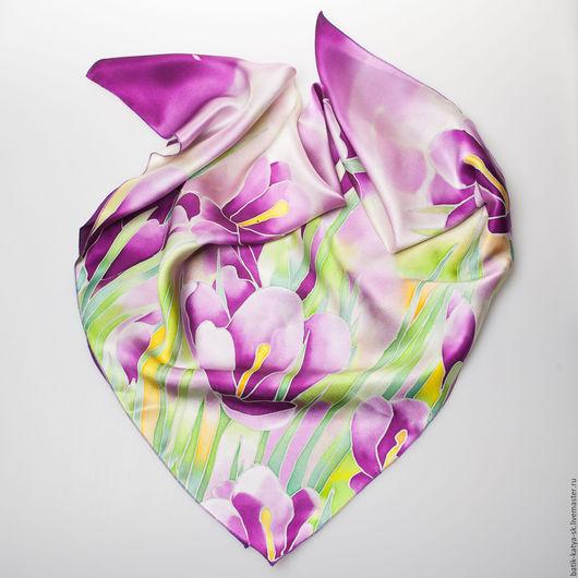 """Шарфы и шарфики ручной работы. Ярмарка Мастеров - ручная работа. Купить Батик шелковый платок """"Крокусы"""". Handmade. Батик"""