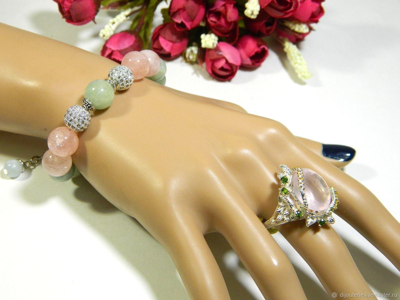 Bracelet Beryls 'good luck charm' of natural stones, Bead bracelet, Saratov,  Фото №1