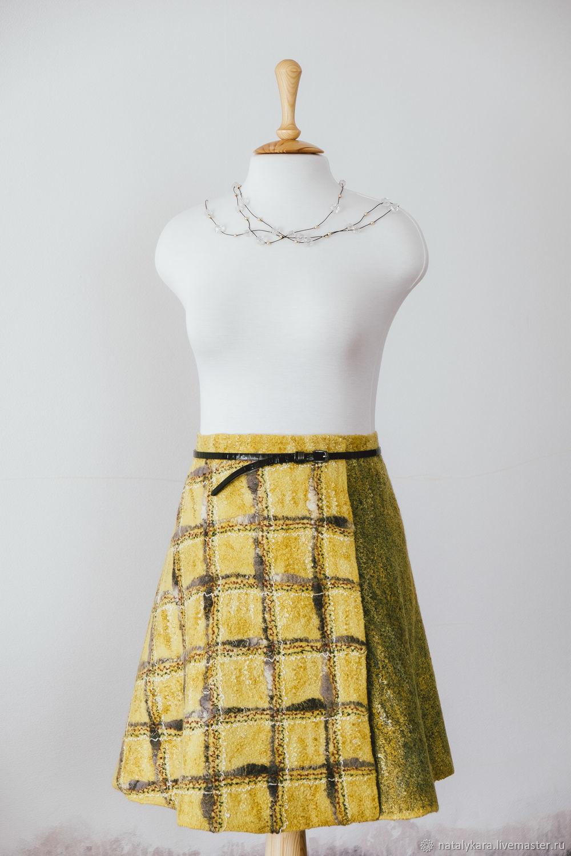 Юбки ручной работы. Ярмарка Мастеров - ручная работа. Купить Валяная юбка мини с запахом. Желтая в клетку. Handmade.