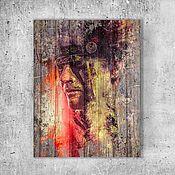 """Картины ручной работы. Ярмарка Мастеров - ручная работа Картина на состаренном дереве """"Зов прерий"""".. Handmade."""
