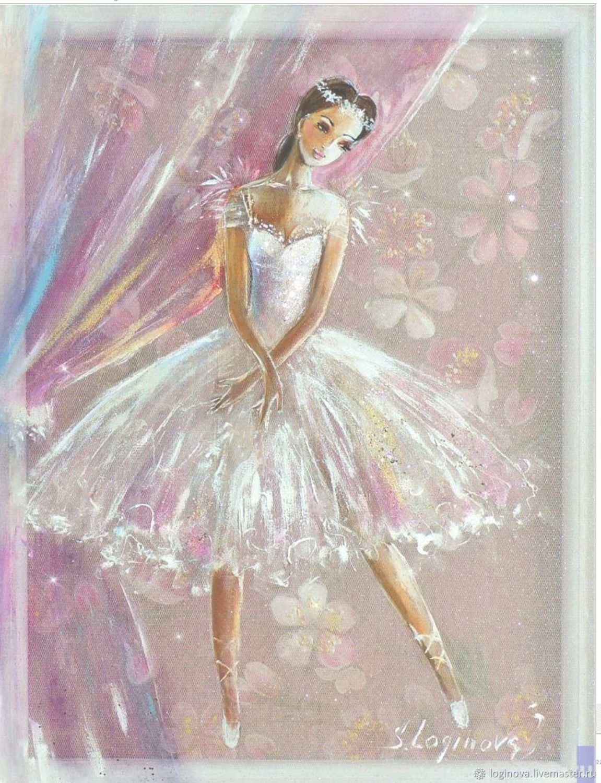 Картина Балерина Нежность -2, картина на шёлке, Картины, Находка,  Фото №1