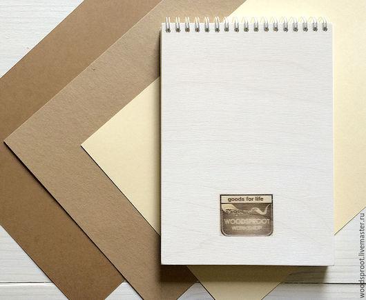 Блокнот А5 с деревянной обложкой белый