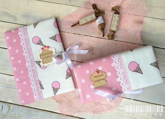 Подарки для новорожденных, ручной работы. Ярмарка Мастеров - ручная работа. Купить Набор: мамины сокровища и папка для свидетельства о рождении. Handmade.
