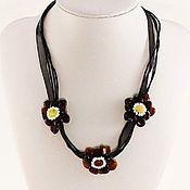 Украшения handmade. Livemaster - original item Amber pendant flowers natural stone on the ribbon, burgundy. Handmade.