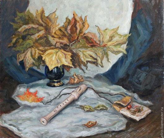 Натюрморт ручной работы. Ярмарка Мастеров - ручная работа. Купить Картина Натюрморт с осенними листьями и флейтой. Handmade. Осень, флейта