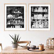 Картины и панно handmade. Livemaster - original item Paris cafe Laduree, a black and white photo of the painting in the dining room Triptych. Handmade.