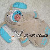 """Работы для детей, ручной работы. Ярмарка Мастеров - ручная работа Комбинезон-конверт для новорожденного """"Бежевый Зайка"""" с Бирюзой. Handmade."""