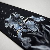 """Аксессуары ручной работы. Ярмарка Мастеров - ручная работа Галстук """"Ирис на черном"""". Handmade."""