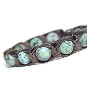 Украшения handmade. Livemaster - original item Leather bracelet with turquoise. The stone for the zodiac Aries. Handmade.