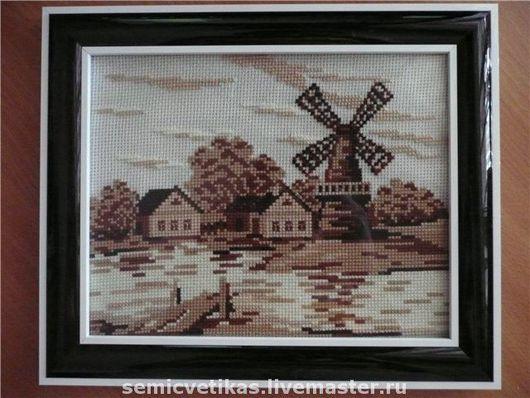 """Пейзаж ручной работы. Ярмарка Мастеров - ручная работа. Купить Вышитая картина """"Старая мельница"""". Handmade. Вышивка крестом, мельница"""