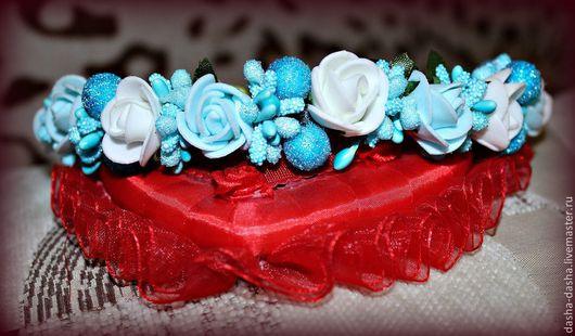 Диадемы, обручи ручной работы. Ярмарка Мастеров - ручная работа. Купить Цветы в волосах, обруч, венок, ободок. Handmade. Голубой