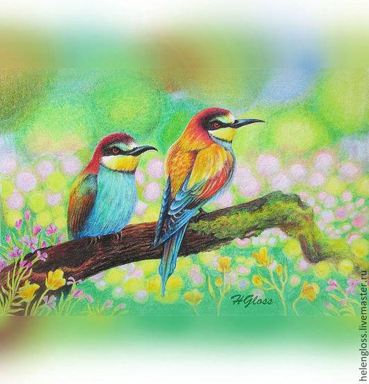 """Животные ручной работы. Ярмарка Мастеров - ручная работа. Купить Картина """"Тропическое лето"""". Handmade. Зеленый, радуга, птица, луг"""