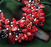 """Украшения ручной работы. Ярмарка Мастеров - ручная работа """"Зарево заката"""" колье и серьги. Handmade."""