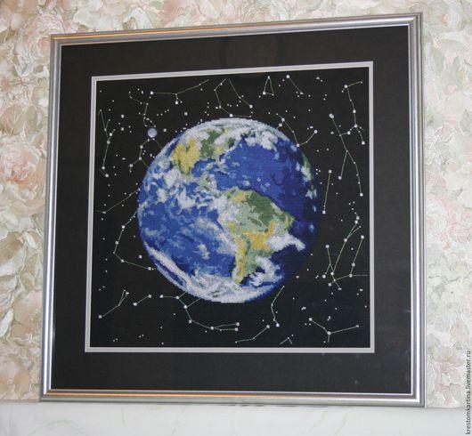 """Пейзаж ручной работы. Ярмарка Мастеров - ручная работа. Купить Вышитая картина """"Планета Земля"""". Handmade. Комбинированный, Вышивка крестом"""