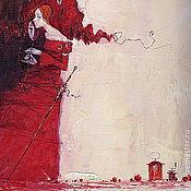 Картины и панно ручной работы. Ярмарка Мастеров - ручная работа коломбина в красном. Handmade.