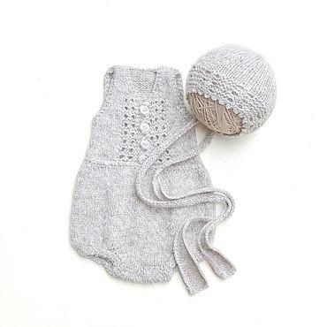 Товары для малышей ручной работы. Ярмарка Мастеров - ручная работа Ромпер + шапочка для фотосессии новорожденной. Handmade.