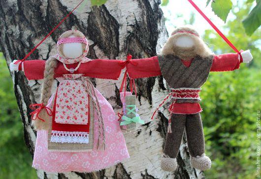 """Народные куклы ручной работы. Ярмарка Мастеров - ручная работа. Купить Кукла-оберег """"Неразлучники"""". Handmade. Ярко-красный, шерсть"""