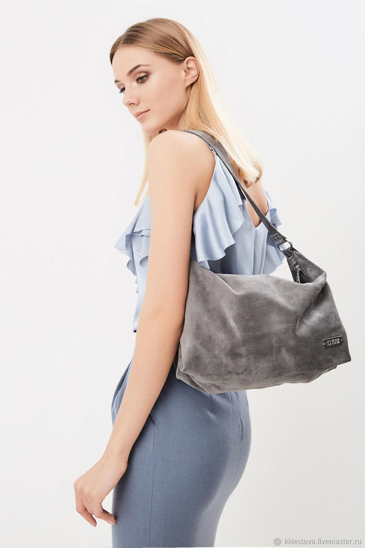 Shoulder Bag Suede Grey Hobo Crossbody Bag, Classic Bag, Moscow,  Фото №1
