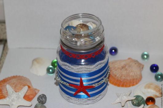 Подарочное оформление бутылок ручной работы. Ярмарка Мастеров - ручная работа. Купить Декоративное оформление баночек в морском стиле. Handmade.