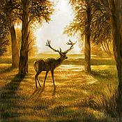 Картины и панно ручной работы. Ярмарка Мастеров - ручная работа Закат в лесу. Пастель. Handmade.