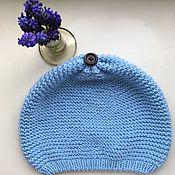 Работы для детей, ручной работы. Ярмарка Мастеров - ручная работа Шапка Деми небесно голубого цвета. Handmade.
