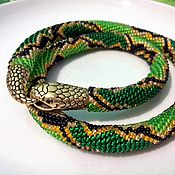 Украшения ручной работы. Ярмарка Мастеров - ручная работа Зелёная змея - бисерный жгут, колье на шею. Handmade.