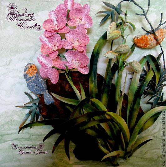 """Картины цветов ручной работы. Ярмарка Мастеров - ручная работа. Купить Картина-панно """"Орхидея"""". Handmade. Брусничный, птички"""