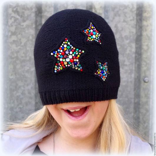 """Шапки ручной работы. Ярмарка Мастеров - ручная работа. Купить Шапка """"Star shine"""".. Handmade. Черный, шапка для девочки, бусины"""