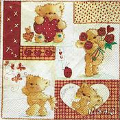 Материалы для творчества handmade. Livemaster - original item Napkin for decoupage in love with bear print. Handmade.