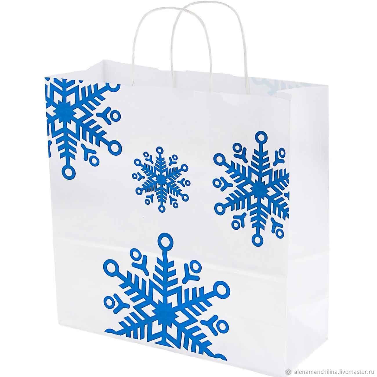 1564e8ec4480 Купить Крафт-пакет 32х32х12 см Упаковка ручной работы. Крафт-пакет 32х32х12  см с крученными ручками и рисунком Снежинки синие