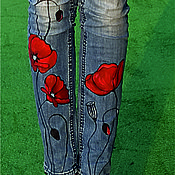 Jeans handmade. Livemaster - original item Painted on jeans MAKI. Handmade.