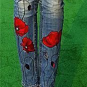 Одежда ручной работы. Ярмарка Мастеров - ручная работа Роспись на джинсах МАКИ. Handmade.