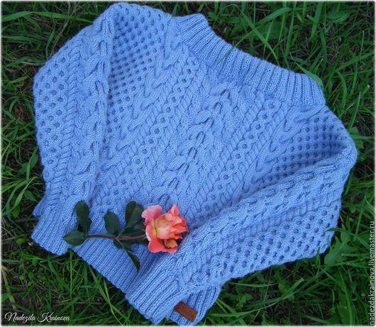 """Кофты и свитера ручной работы. Ярмарка Мастеров - ручная работа. Купить Пуловер по мотивам """"Рубан"""". Handmade. Голубой, соты"""