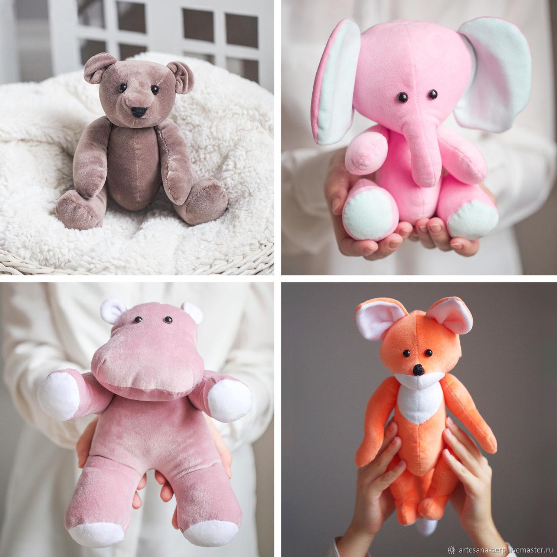 Набор для шитья — Плюшевые зверята (медведь, слоник, бегемот, лисенок), Заготовки для кукол и игрушек, Москва,  Фото №1