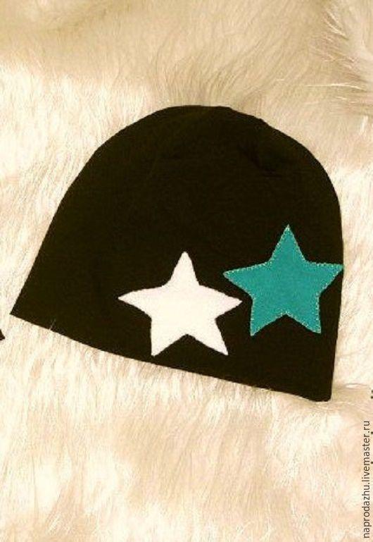Шапки и шарфы ручной работы. Ярмарка Мастеров - ручная работа. Купить трикотажная шапка детская. Handmade. Коричневый, звезды