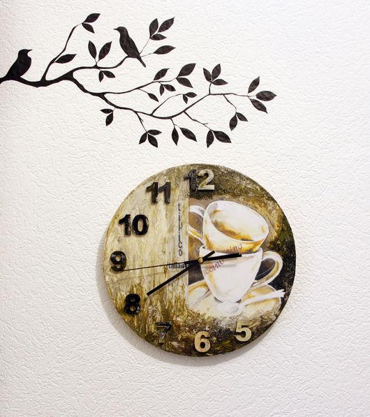 """Часы для дома ручной работы. Ярмарка Мастеров - ручная работа. Купить Часы настенные """"А кофеек был вкусный"""". Handmade."""