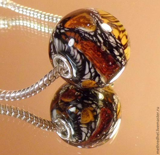 """Для украшений ручной работы. Ярмарка Мастеров - ручная работа. Купить """"Тигровый"""" - кулон-шар в стиле Пандора. Handmade."""