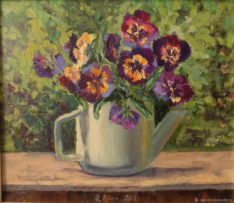 Painting Pansies, bouquet oil on canvas, Pictures, Ekaterinburg,  Фото №1