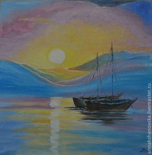 """Пейзаж ручной работы. Ярмарка Мастеров - ручная работа. Купить Картина """"Лодки"""". Handmade. Голубой, картина, картина маслом"""