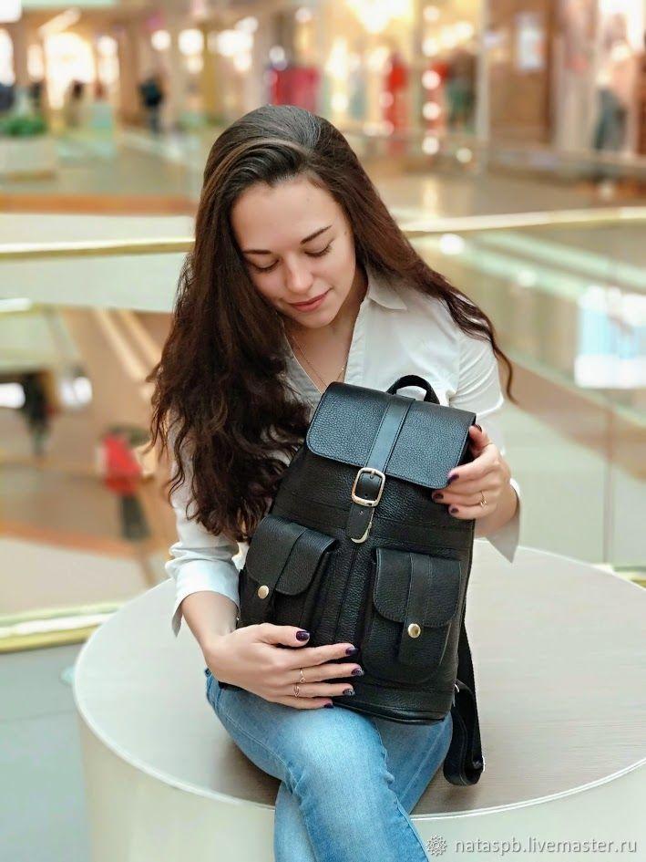 Backpack leather women's black Classic Mod P12-111, Backpacks, St. Petersburg,  Фото №1