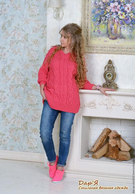 """Кофты и свитера ручной работы. Ярмарка Мастеров - ручная работа. Купить """"Hot Pink """" женский пуловер короткий - OVERSIZE. Handmade."""