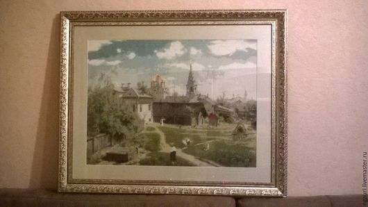 Вышитая крестом картина `Московский дворик`